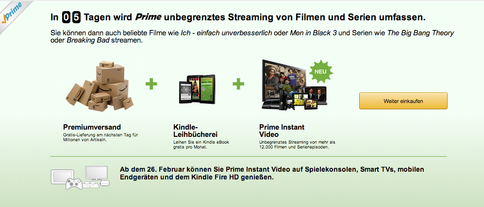 amazon startet ber prime video on demand flatrate f r 49. Black Bedroom Furniture Sets. Home Design Ideas